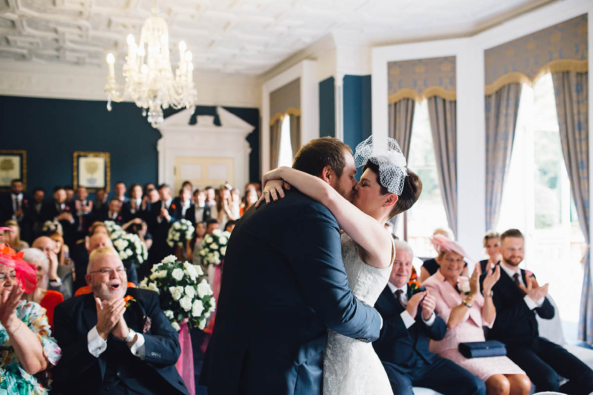 Oakley Hall Wedding - First Kiss