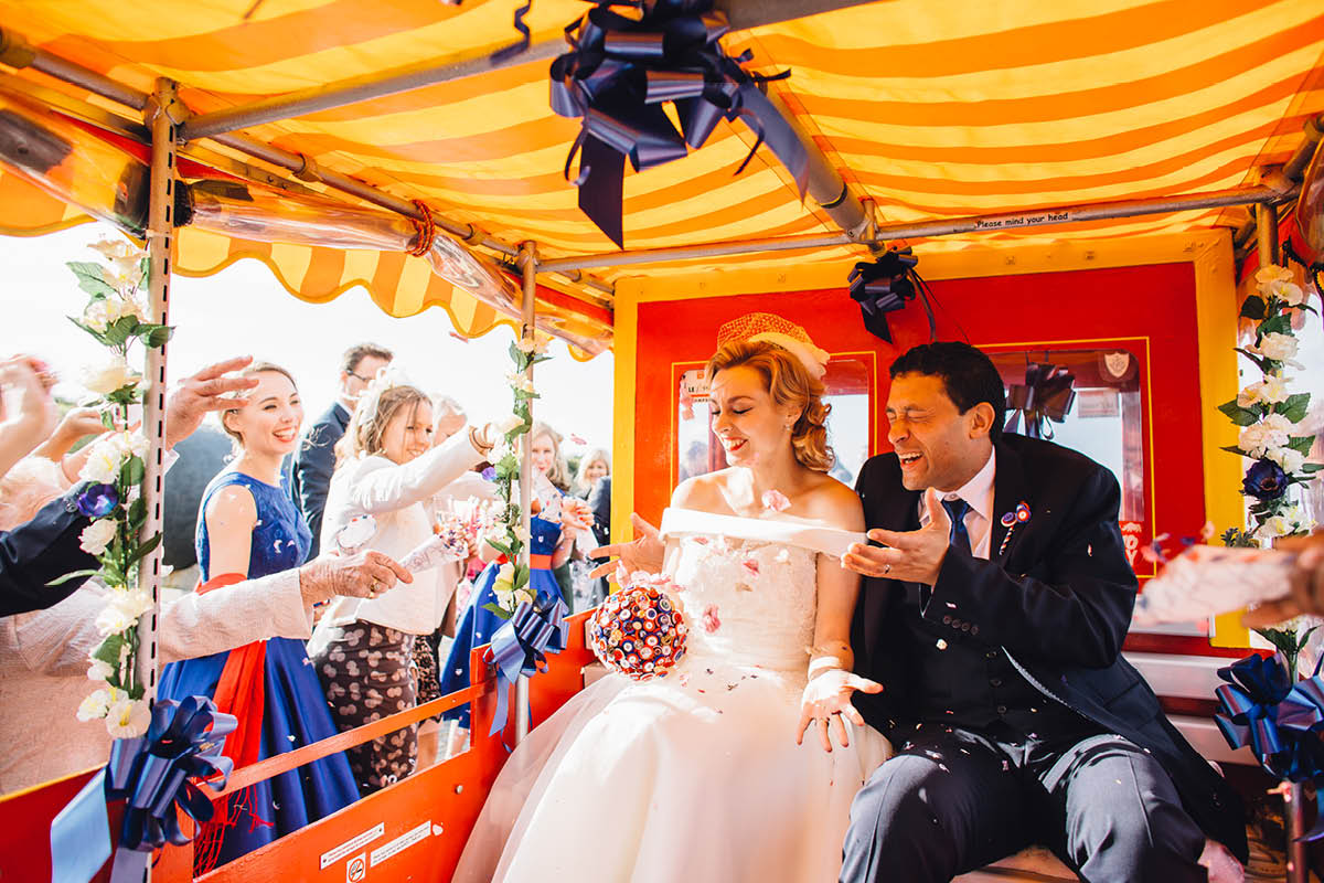 Southsea Castle Wedding Photography Land Train confetti