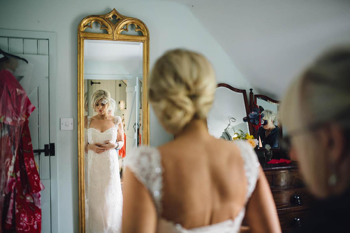 Burley Wedding Photographer Dress going on