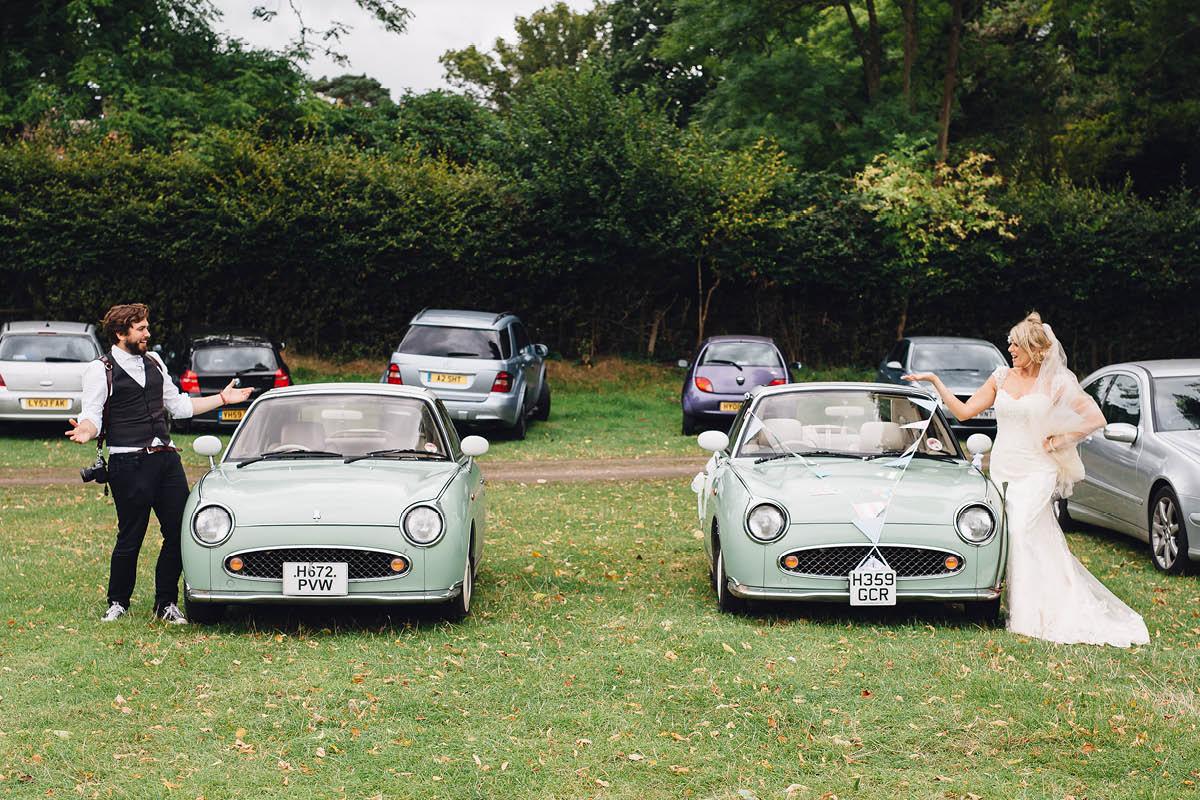 Burley Wedding Photographer Same car as the bride