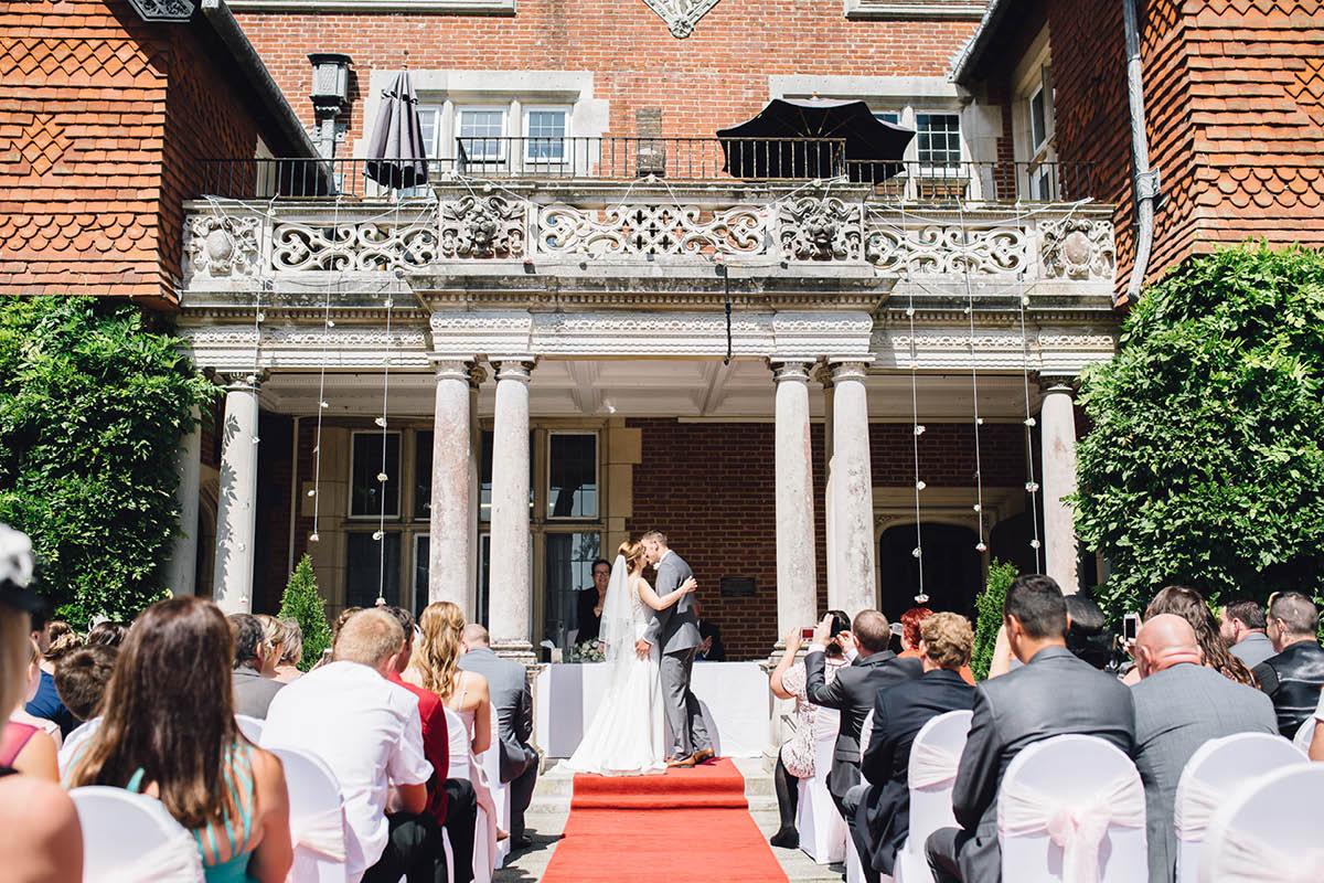 Elmers Court Wedding first kiss
