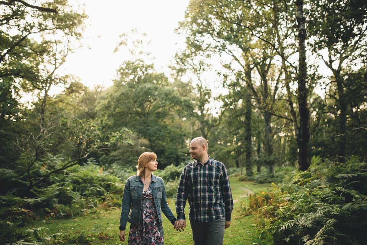 New Forest Engagement Photography - Walking in the forest