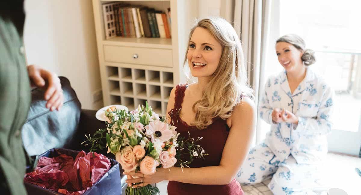 Larmer Tree Winter Wedding - Flowers Arrive