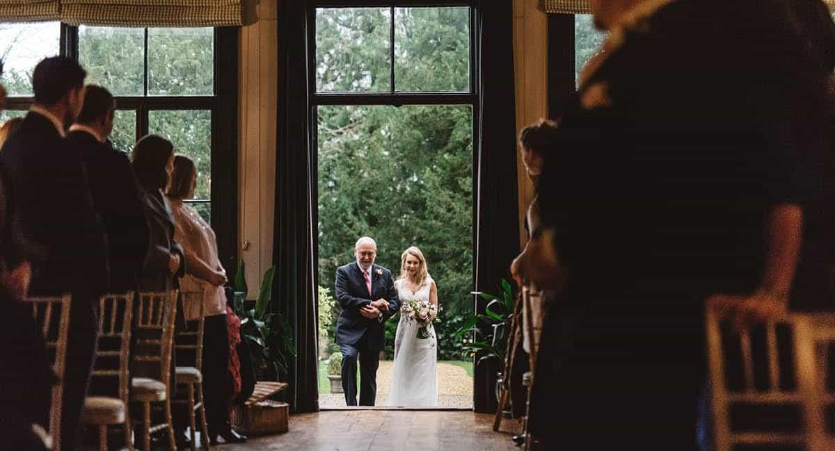 Larmer Tree Winter Wedding - bride arriving