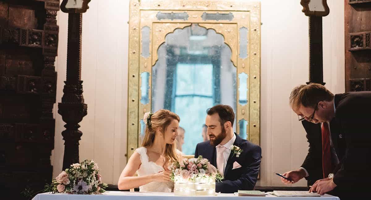 Larmer Tree Winter Wedding - Signing