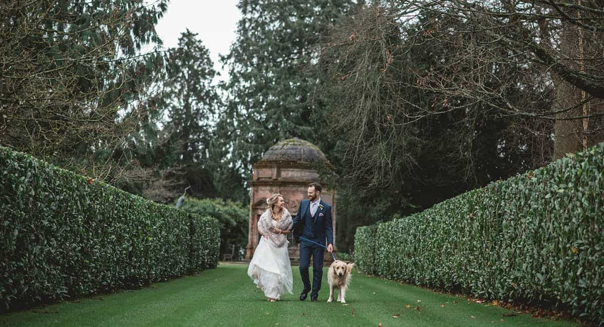 Larmer Tree Winter Wedding - just taking the dog for a walk