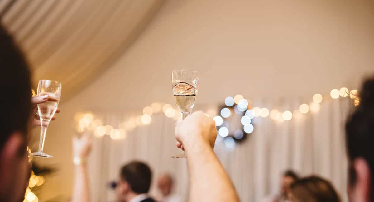 Larmer Tree Winter Wedding - Cheers