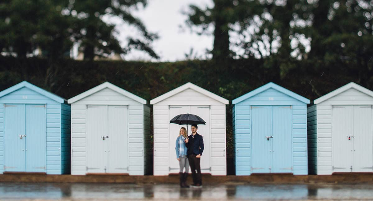 dorset engagement photography - avon beach beach huts