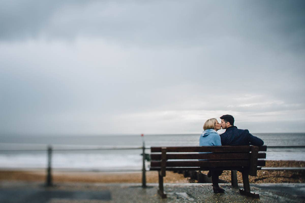 dorset engagement photography - beach side bench